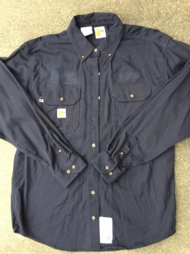 CARHARTT FLAME/FIRE RESISTANT NAVY BLUE WORK SHIRT SIZE LARG