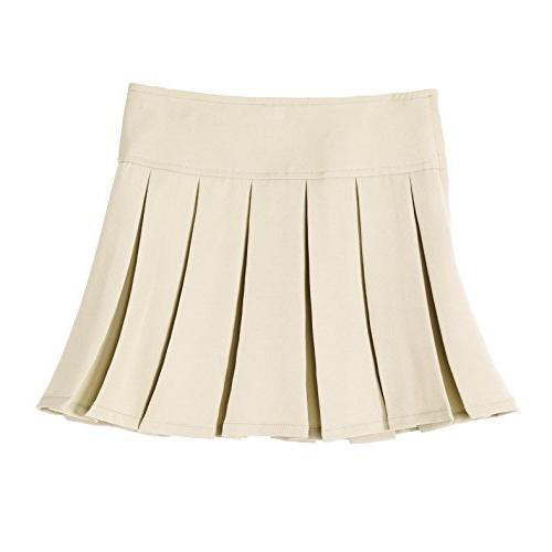 1eef3fbfa2 Bienzoe Girl's Pleated Hem School Uniform Skirt Khaki