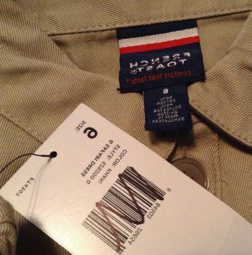 French Uniform Safari Dress Button Up Front Beige 6