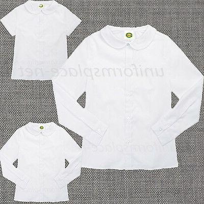 Girls Shirt Peter Pan Collar Blouse Short Sleeve, Long Sleev