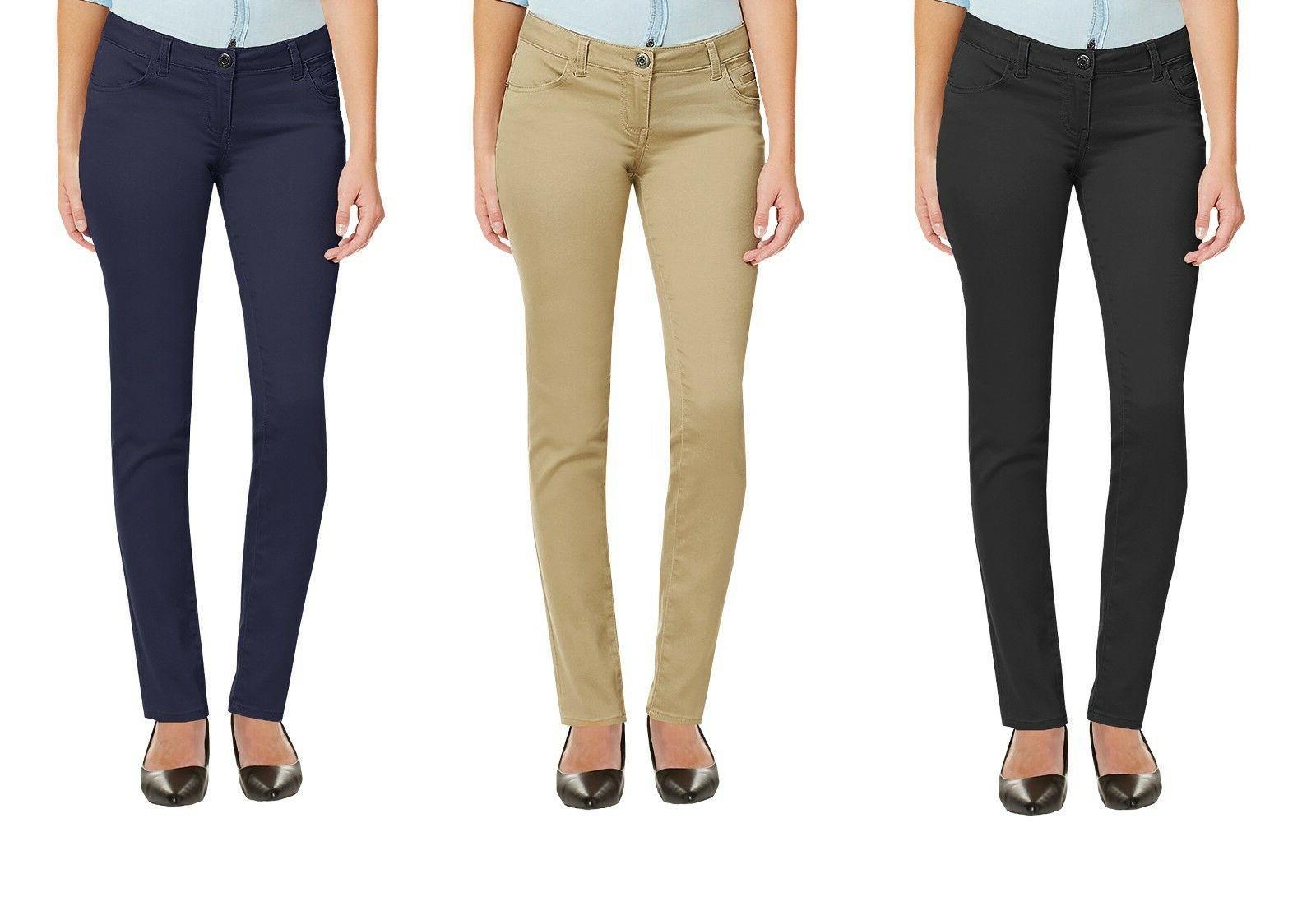 Girls Skinny Pants Stretch Chino Work School Uniform Cotton