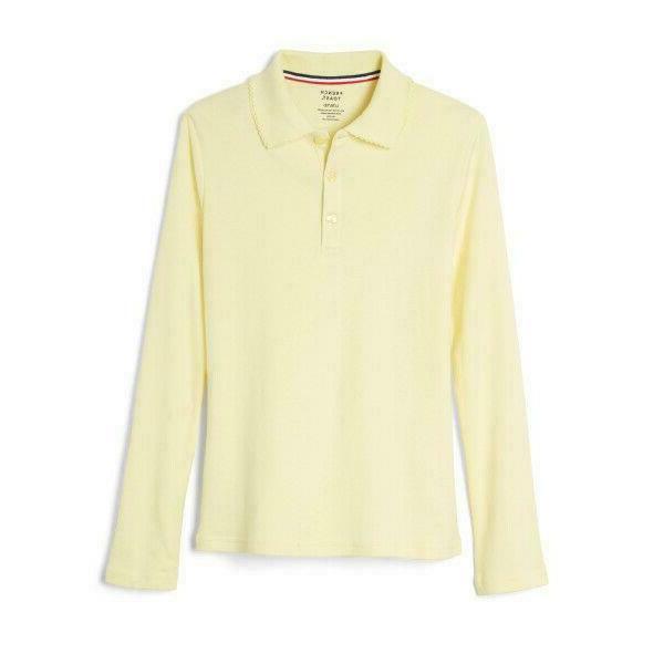 French Girls Long Sleeve Interlock Polo Shirt Toddler NWT