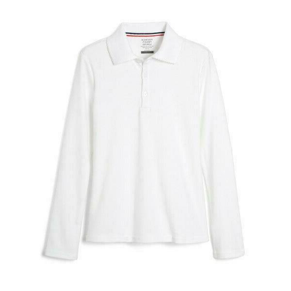 girls uniform long sleeve interlock polo shirt