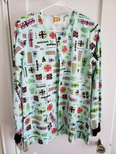 icu by uniforms scrub jacket xs holiday