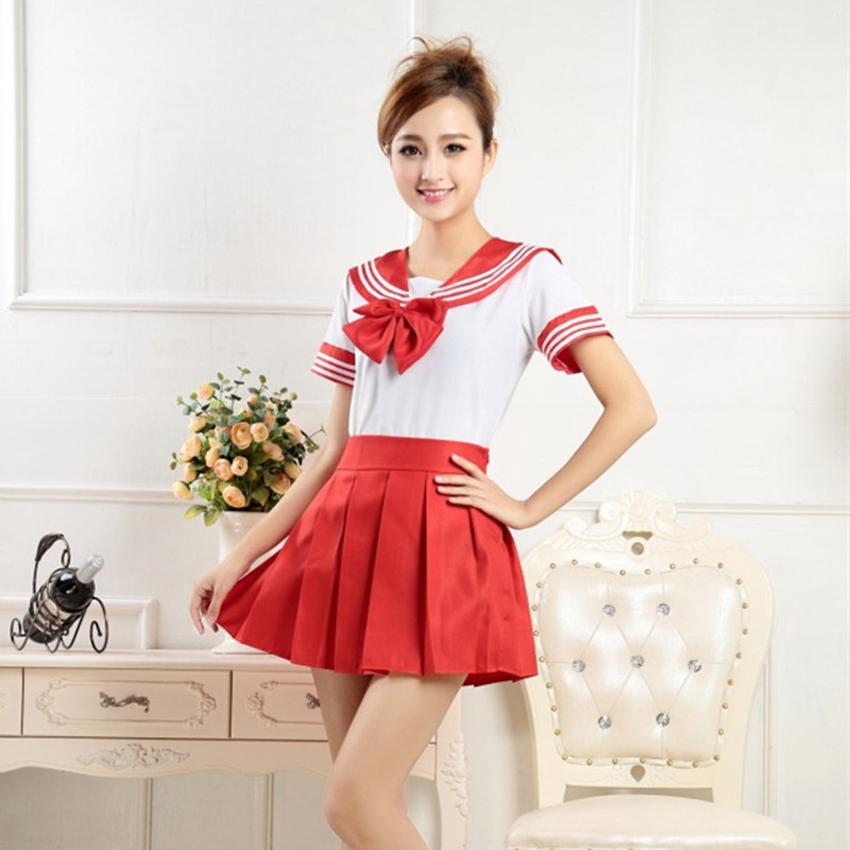 Japanese JK Suit Woman High Sailor Cosplay Costumes Student <font><b>Girls</b></font> Pleated