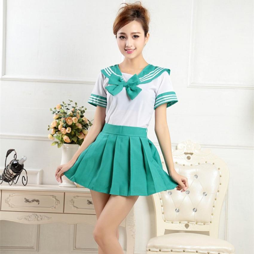 Japanese Korean Suit Woman High <font><b>School</b></font> Sailor Cosplay Pleated