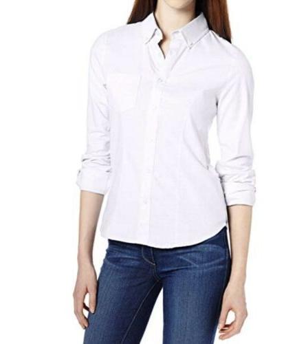 juniors long sleeve oxford blouse white medium