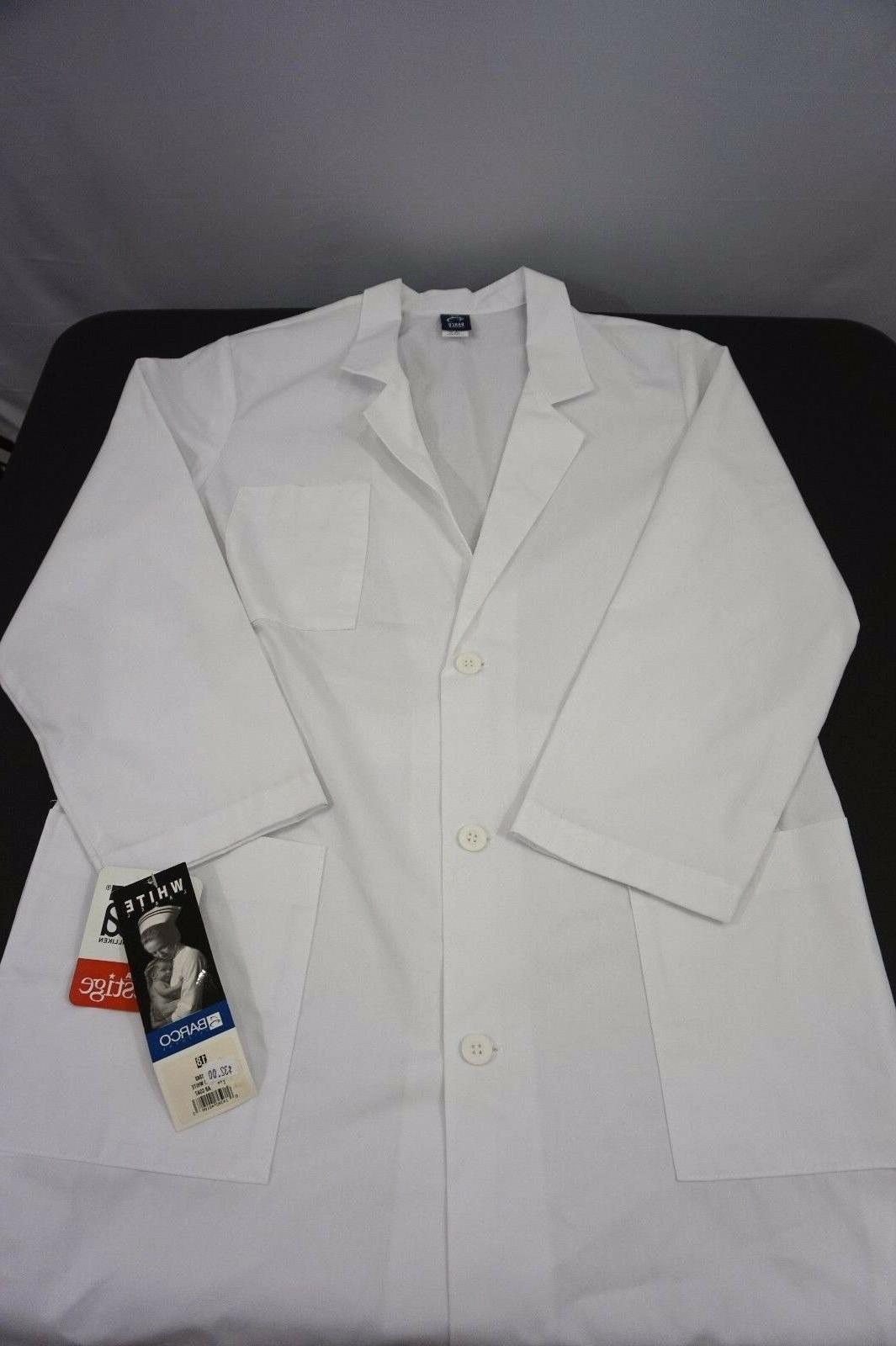 Lab Coat White Barco 1343 Womens Sz 18 Knee Length Uniform