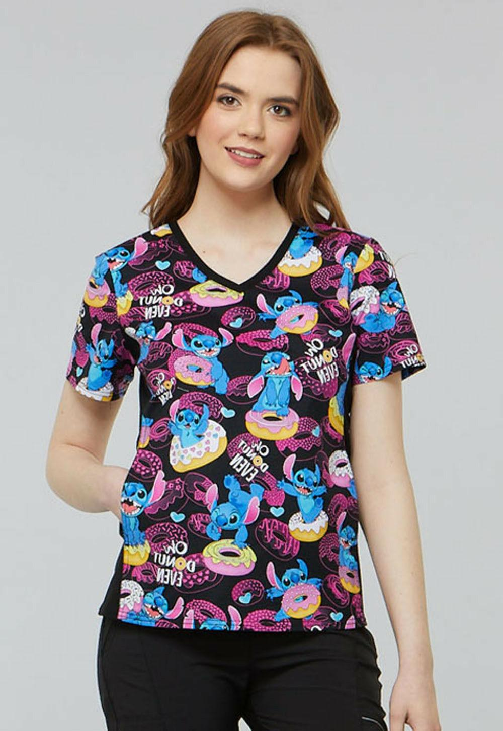 Lilo & Stitch Cherokee Scrubs Tooniforms Disney Knit Panel V