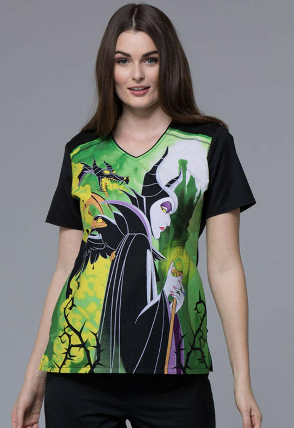 Maleficent Cherokee Scrubs Tooniforms Disney V Neck Top TF69