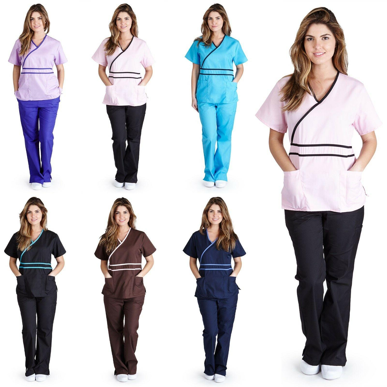 medical nurse scrubs contrast mock set size