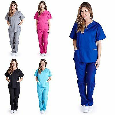 medical nurse women contrast scallop scrubs sets
