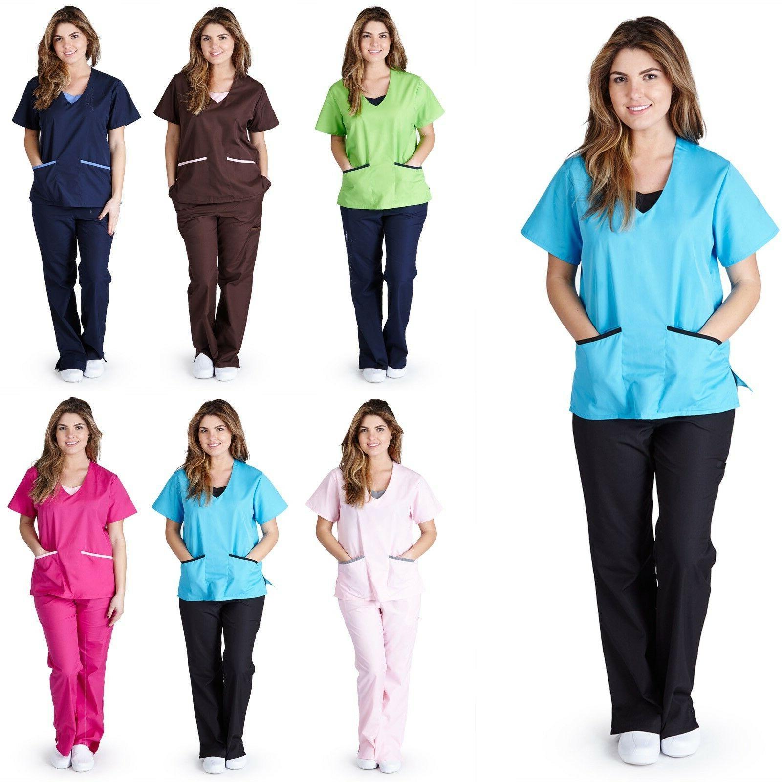 medical nursing contrast jersey scrubs set xs