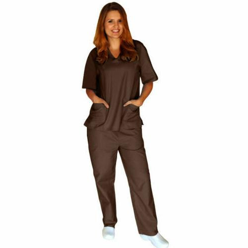 Medical Men Women Solid Scrub Set & Hospital XS-5XL