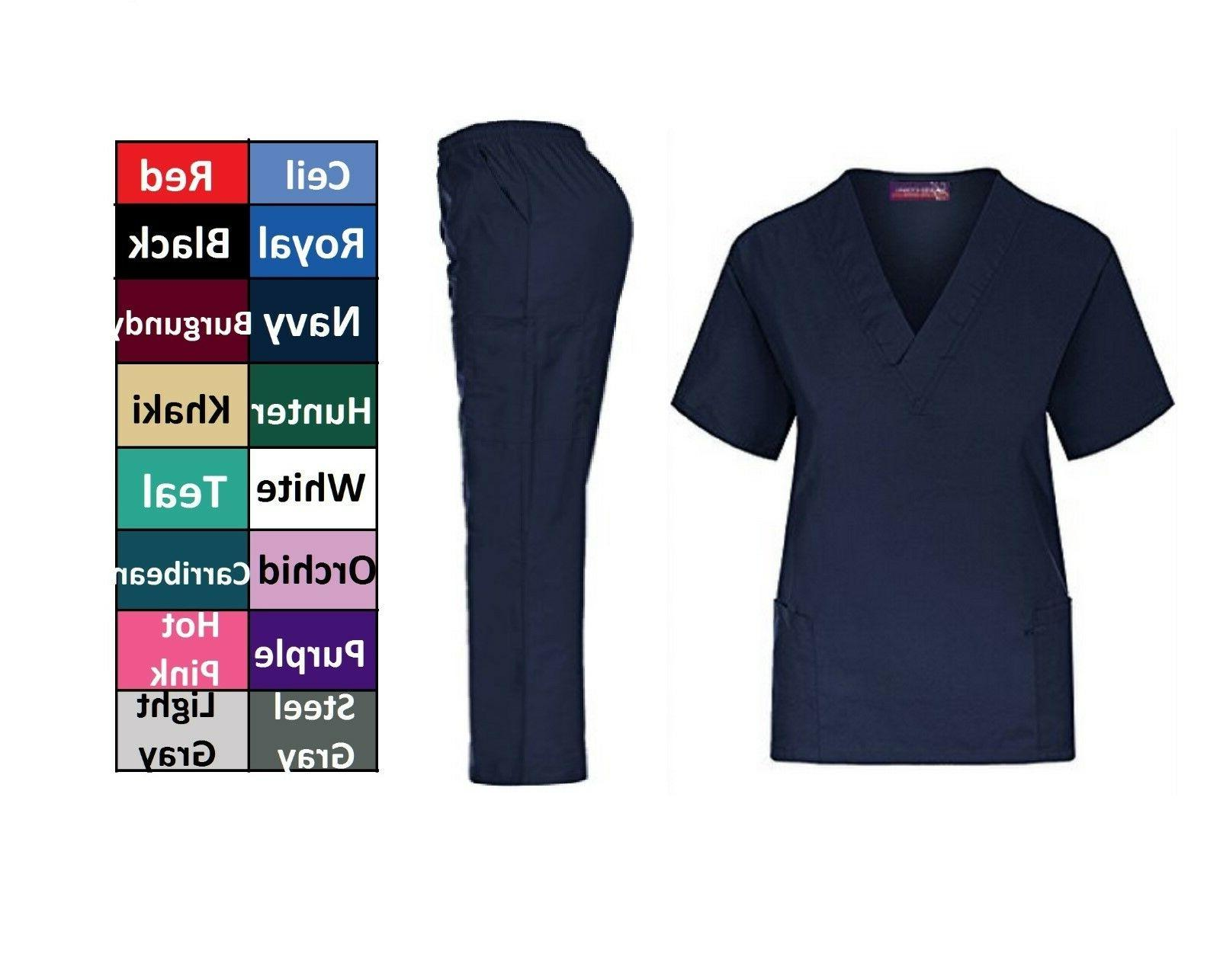 Medical Solid Scrub Top & Pants Hospital XS-5XL