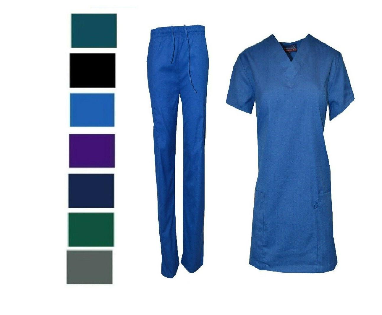 Medical Nursing Men Women Solid Scrub Set Top & Pants Hospit