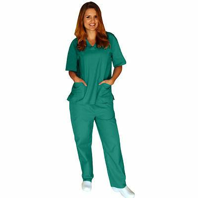 Medical Women Unisex Scrub Set Top Pants Hospital Clinic