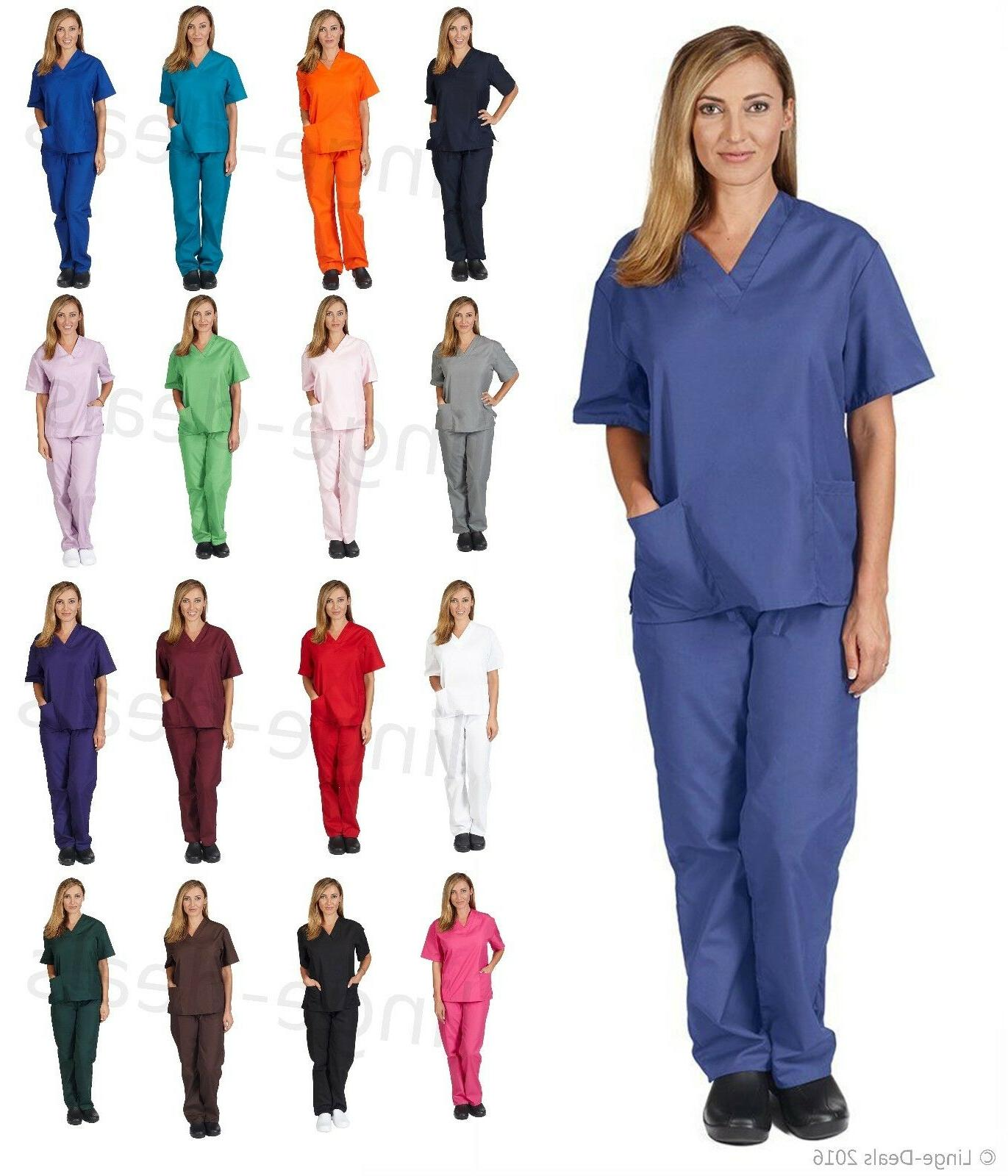 Medical Nursing Scrub Set Top/Pants Unisex Men/Women Natural