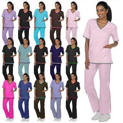 medical nursing scrubs contrast trim sets xs