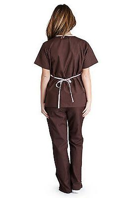 Medical Nursing Women Scrubs NATURAL Mock Sets XS - 3XL