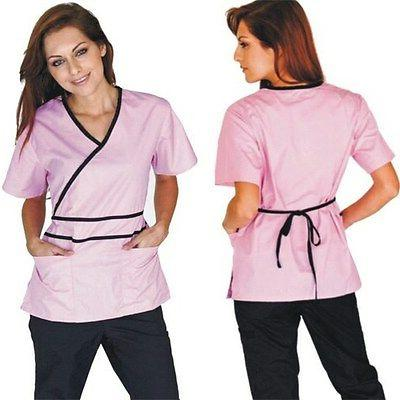 medical nursing women scrubs contrast mock sets