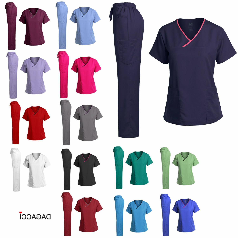 Dagacci Medical Uniform Women's Scrub Set Stretch Contrast B