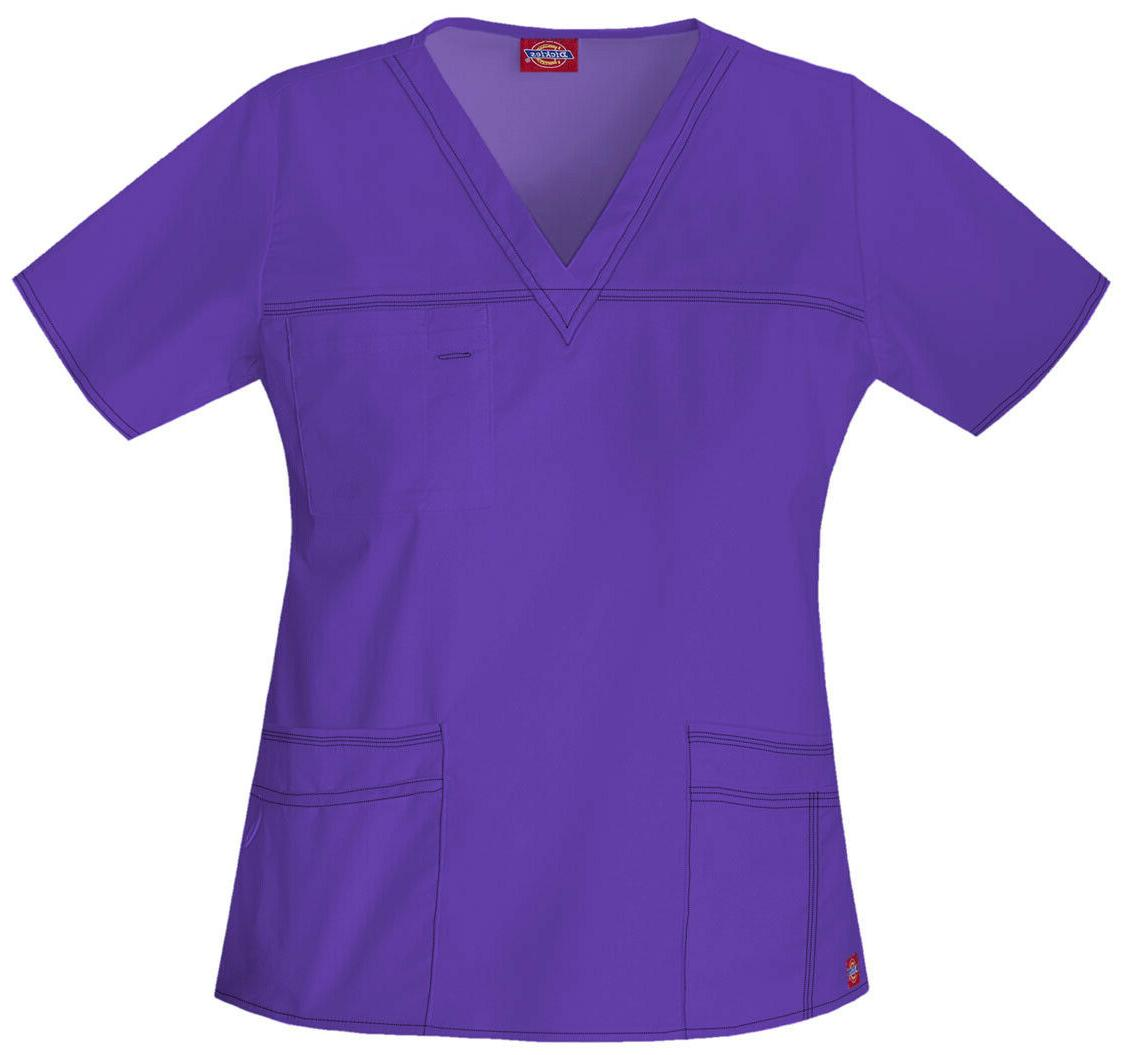 Dickies Medical Uniforms Fitted Mock Wrap Scrub Top 52%cotto