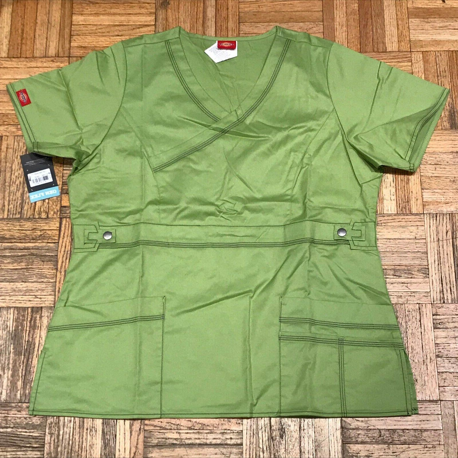 medical uniforms fitted mock wrap scrub top