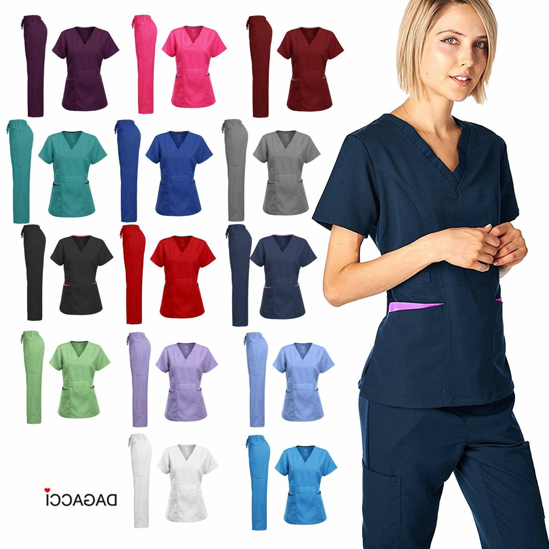 Dagacci Medical Women's Uniform Natural Stretch Contrast V-N
