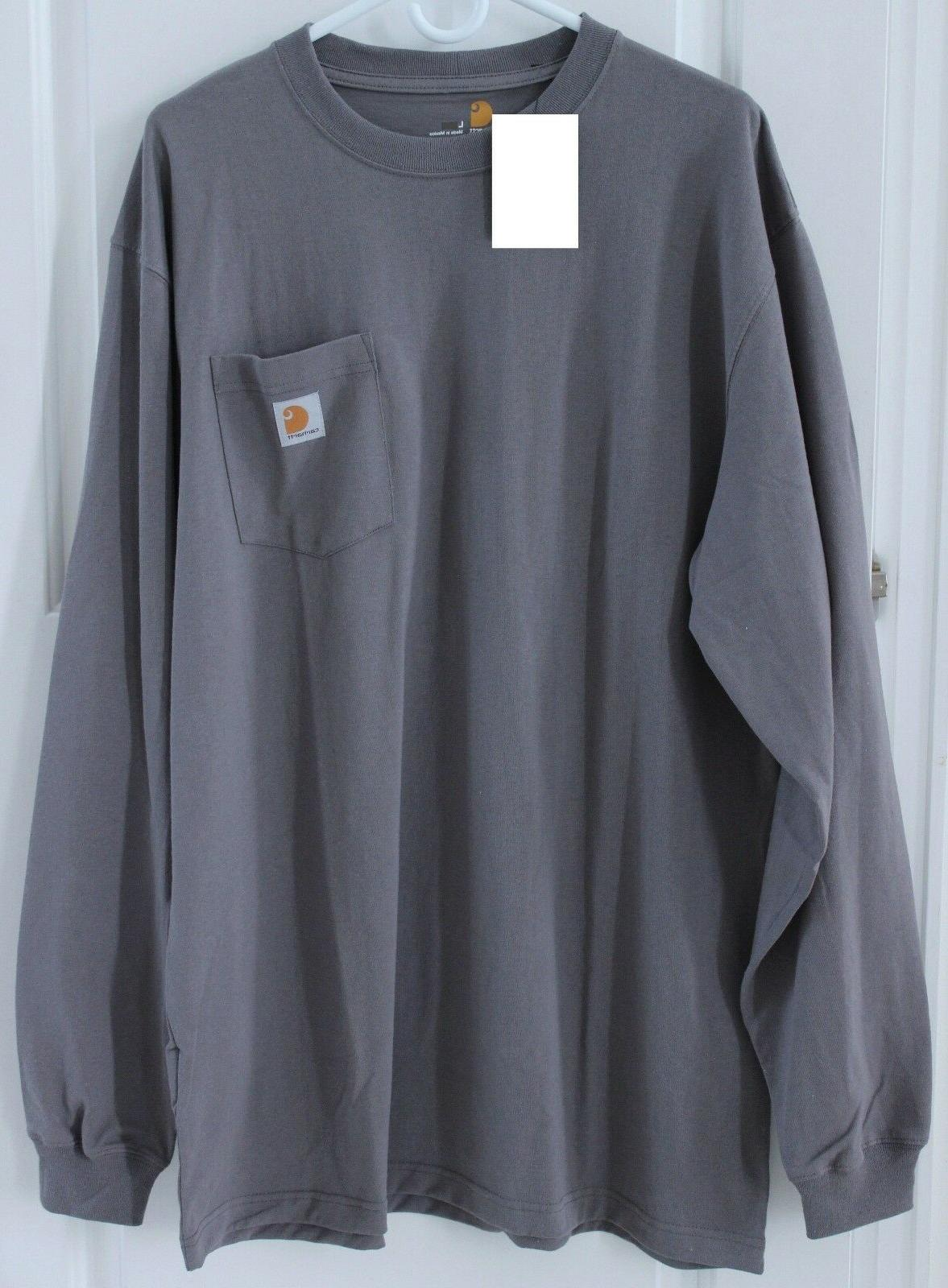 CARHARTT Men's Long Sleeve Pocket T-shirt K126 Gray ~Charcoa