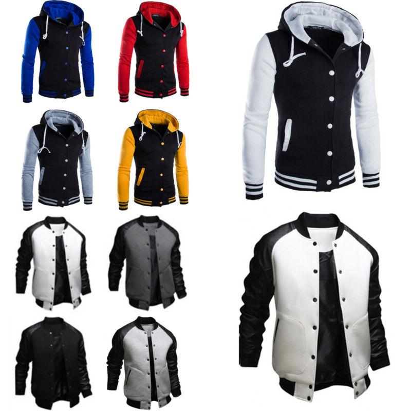 Men's College Baseball Sports Jacket Coat Hooded Sweatshirt
