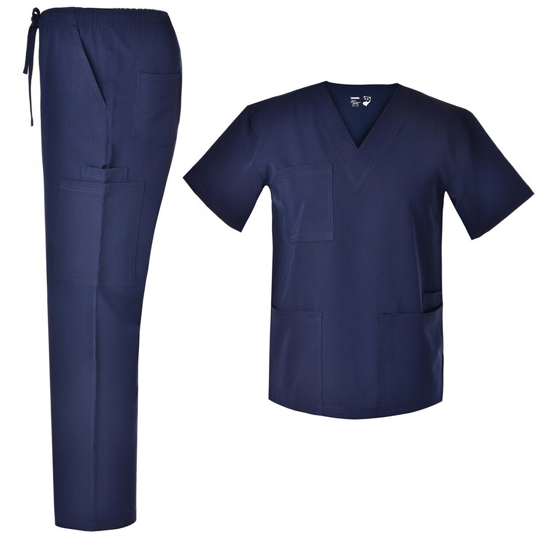 men v neck nursing stretch scrubs set