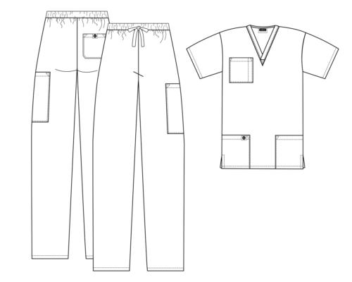 Sivvan Men Women Classic Scrub Set V-neck Top and Hospital Uniforms