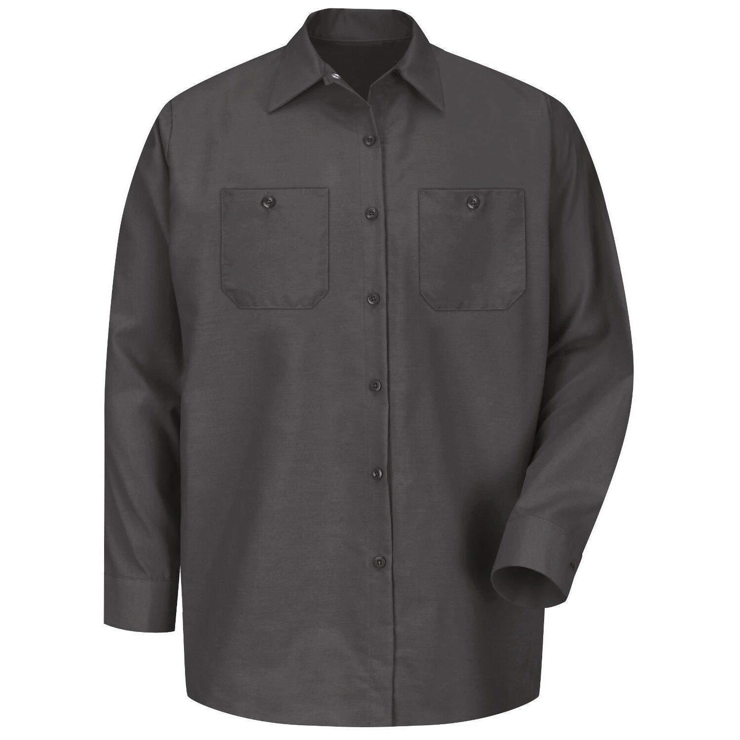 mens long sleeve industrial work shirt charcoal
