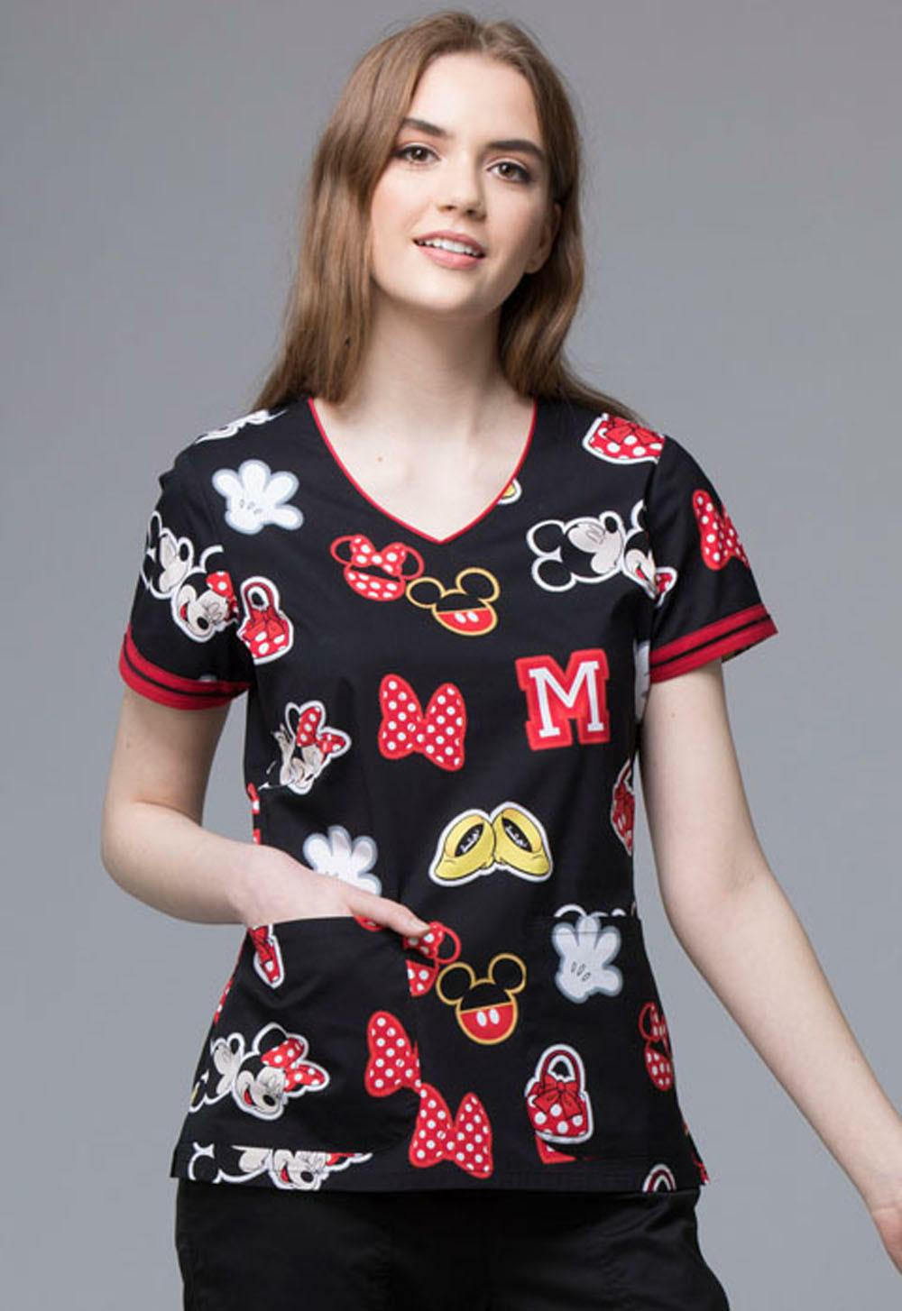 Mickey Mouse Cherokee Scrubs Tooniforms Disney V Neck Top TF