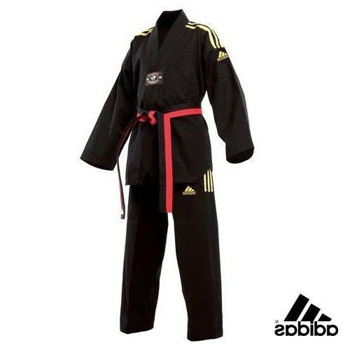 New adidas Taekwondo Uniform adidas CHAMPION Dobok Set-BLACK