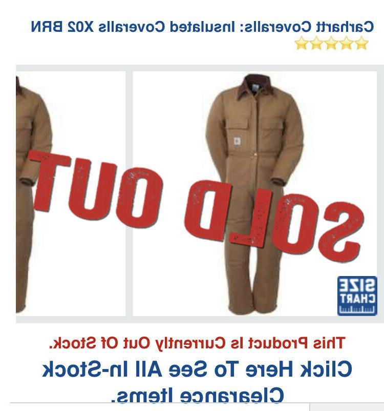 NEW CARHARTT X02 Men 34R Brown Lined Duck IN