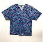 NWOT Barco Uniforms Sz Large Blue Pink Butterfly w/ Gold Fle