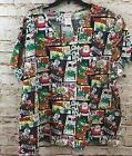 Rudolph Reindeer Scrub top shirt  womens 2X nursing adult he