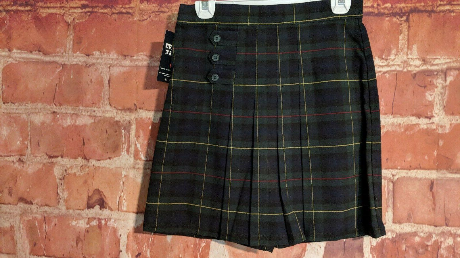 FRENCH TOAST SCHOOL UNIFORM GIRLS GREEN PLAID PLEATED SKORT
