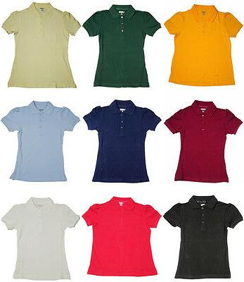 school uniform girls short sleeve stretch pique
