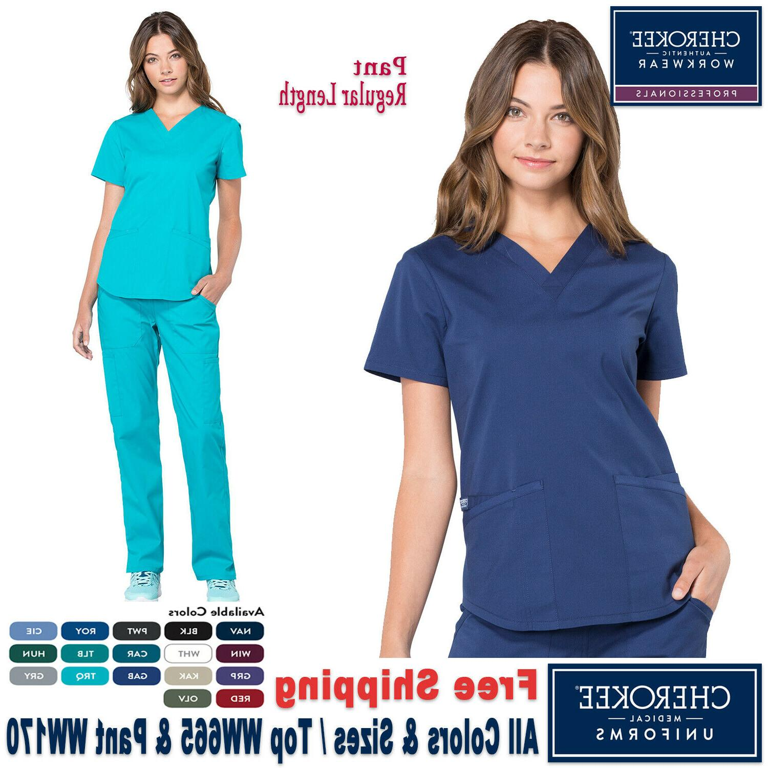 Cherokee Scrubs Set PROFESSIONAL Uniform V-Neck Top & Cargo