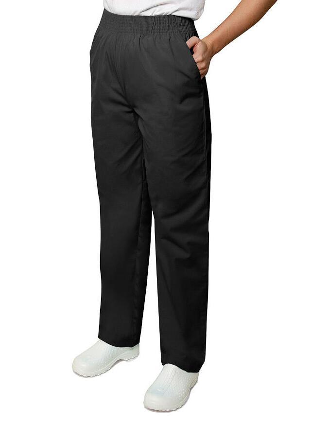Scrub Pants Adar Black Elastic Waist Uniforms Nursing Ladies