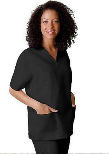 Scrub Set Black Unisex M Adar Uniforms V Neck Top Drawstring
