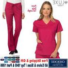 Cherokee Scrub Set LUXE Medical Uniform V-Neck Top & Low Ris