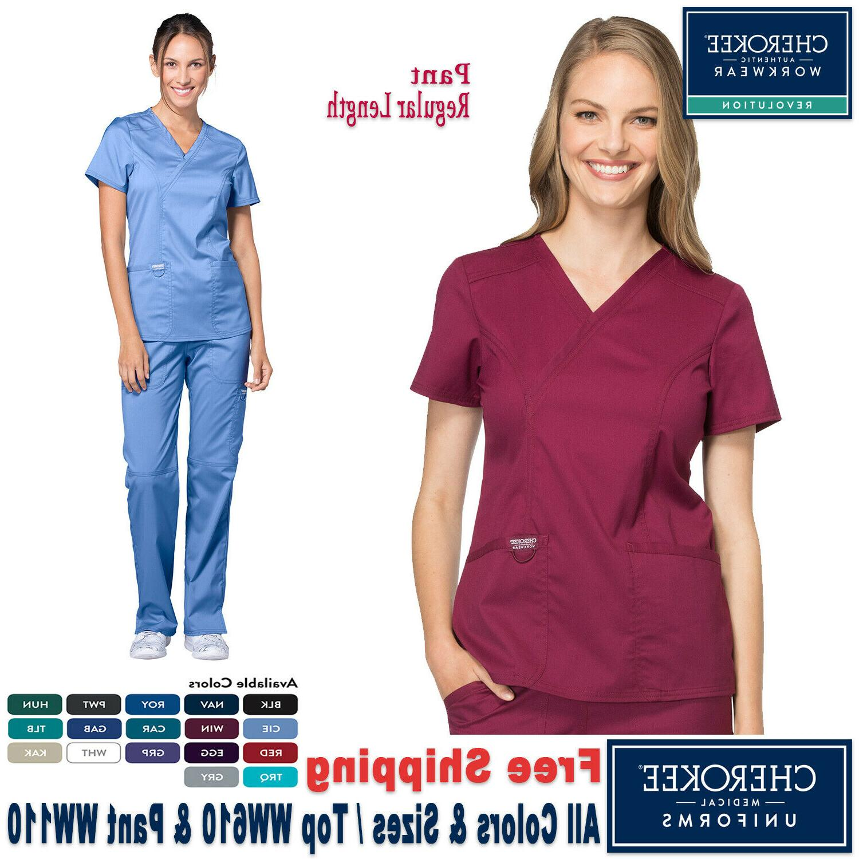 Cherokee Scrub Set New Revolution Uniform Mock Wrap Top & Mi
