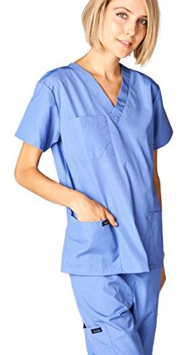 Dagacci Uniform Woman Unisex Scrub Top and Pant, CEIL BLUE, M