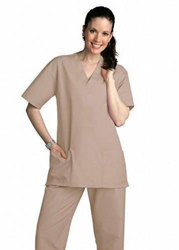 Scrub Set  Khaki VNeck Top Drawstring Pants 2XL Adar Medical
