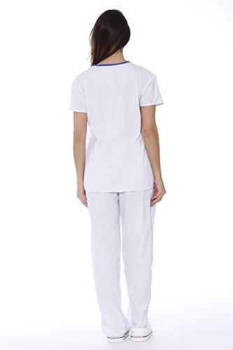 11145W Scrub Scrubs / Nursing - Royal Trim,White With Royal Blue Trim,Small