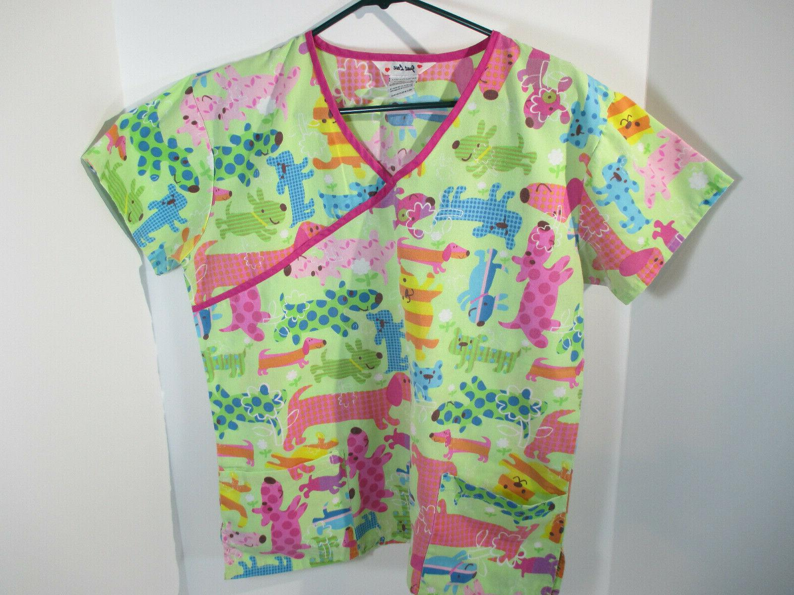 Scrub Top Dogs Just Love Size M Green Pink Pocket S/S V Neck